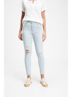 Modré dámské džíny high rise distressed legging jeans with Washwell