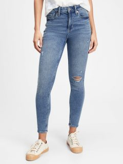 Modré dámské džíny high rise distressed legging jeans with Washwell GAP