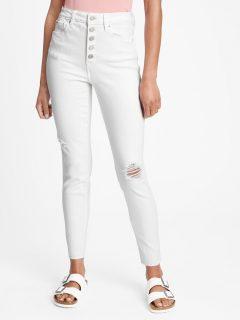 Bílé dámské džíny GAP high rise destructed universal legging jeans with button f