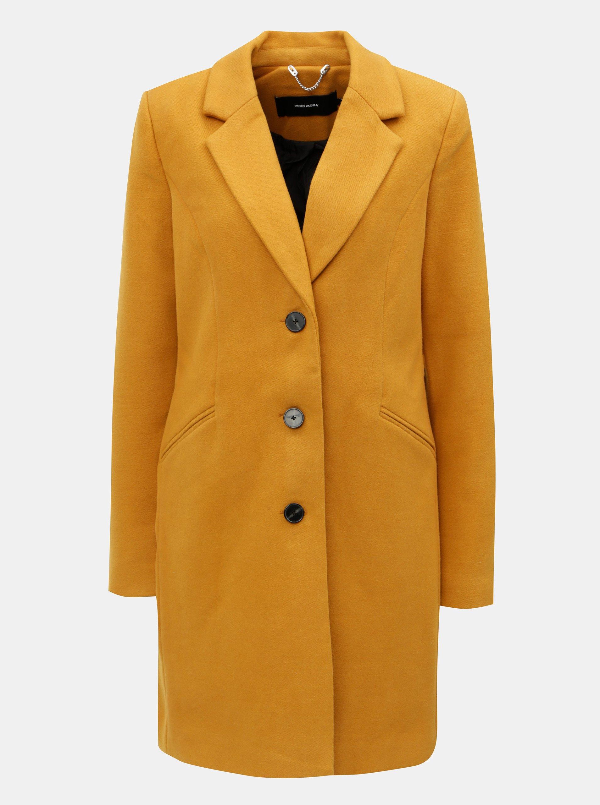 Hořčicový kabát s kapsami VERO MODA