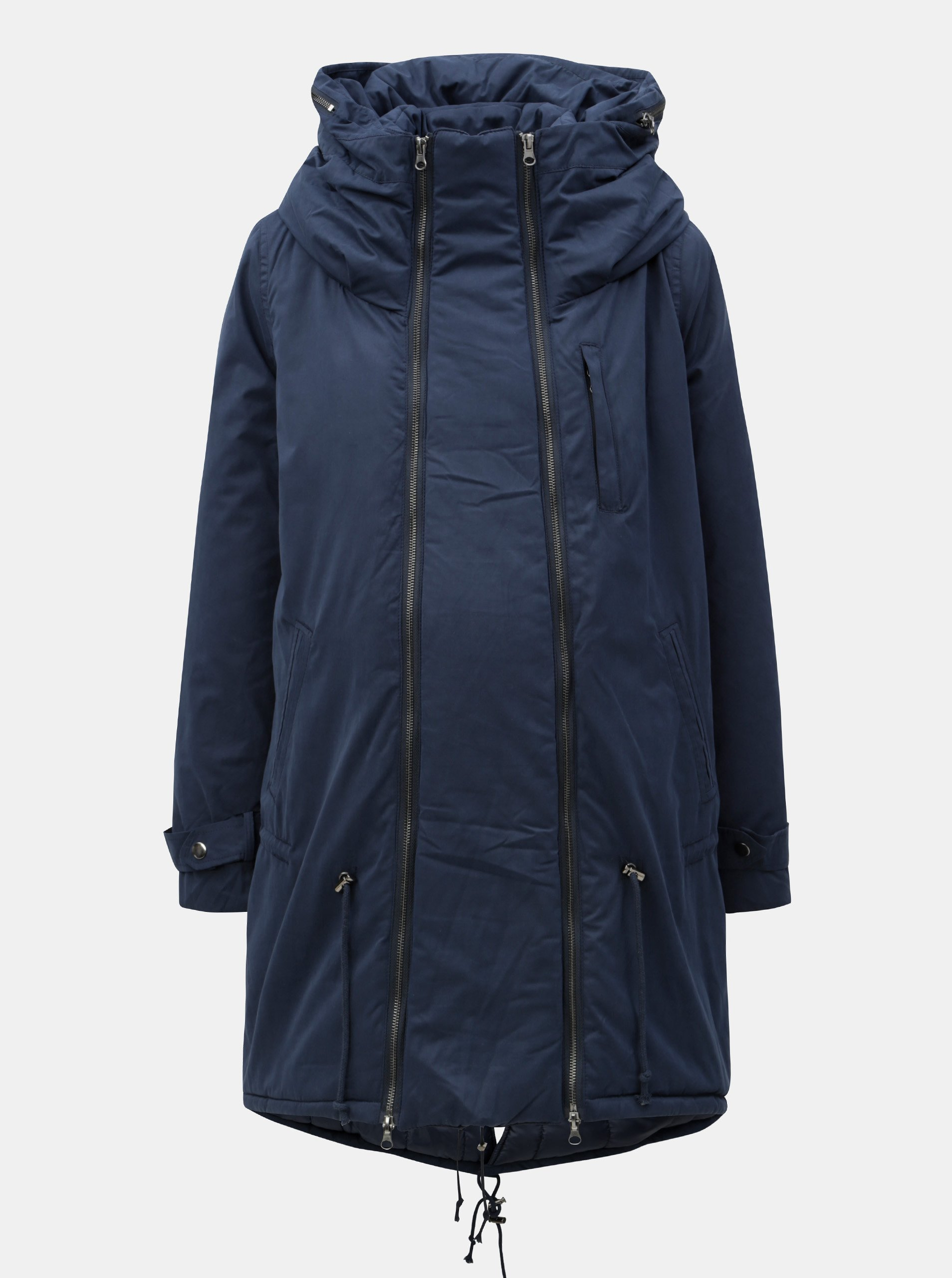 Modrá těhotenská/nosící parka s kapucí Mama.licious