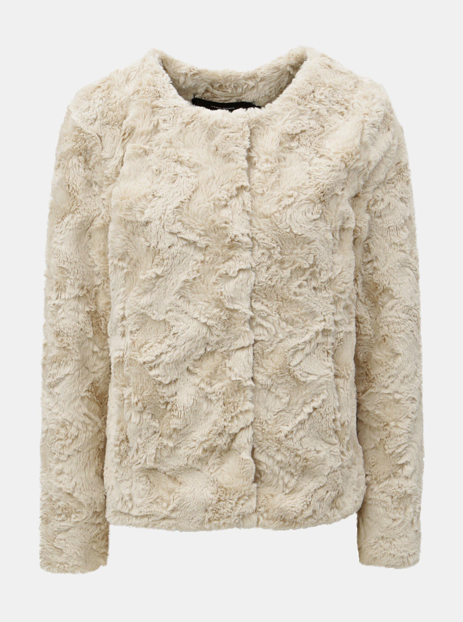 Béžový krátký kabát z umělé kožešiny VERO MODA Curl