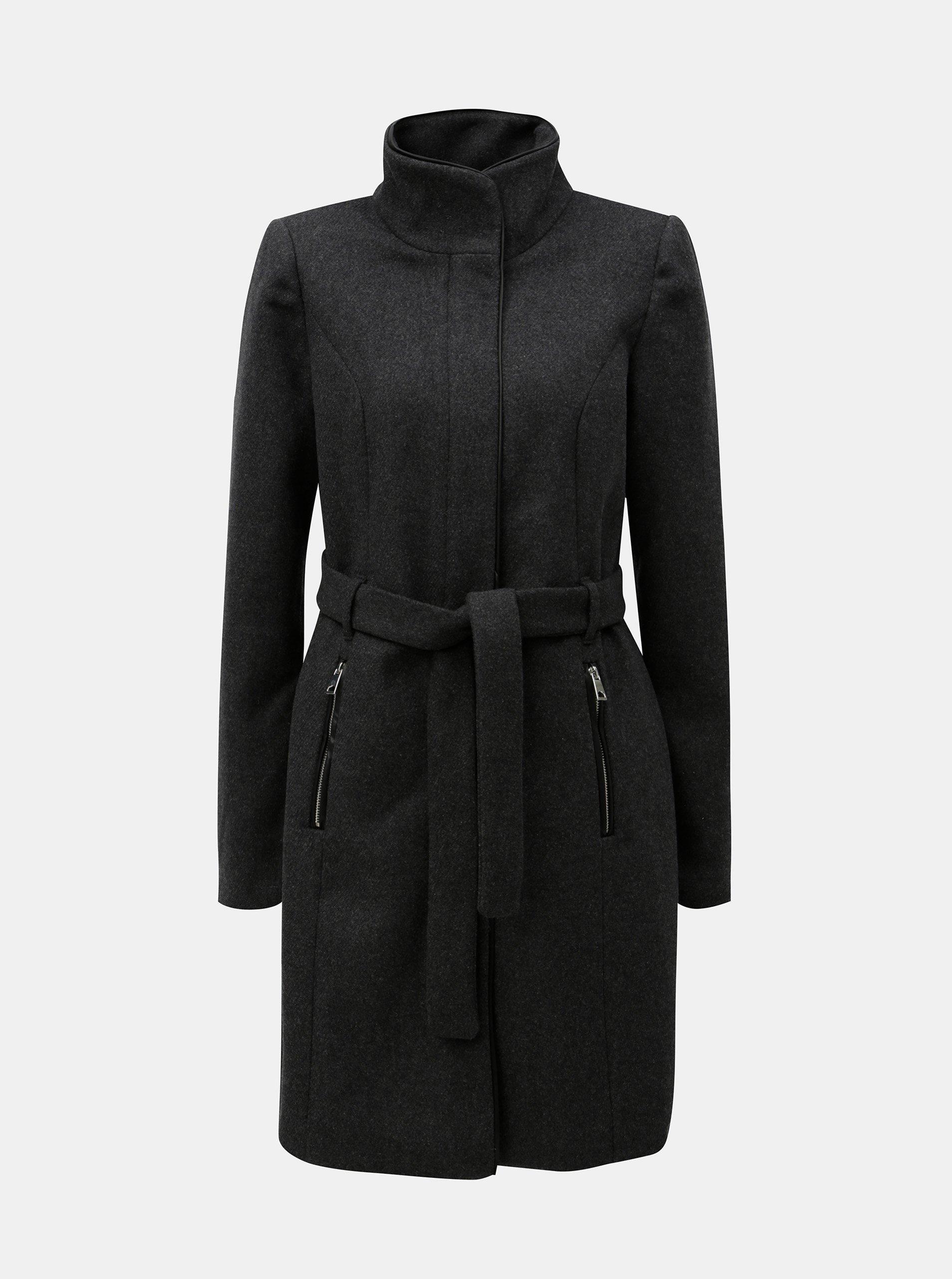 Tmavě šedý kabát s příměsí vlny VERO MODA Bessy
