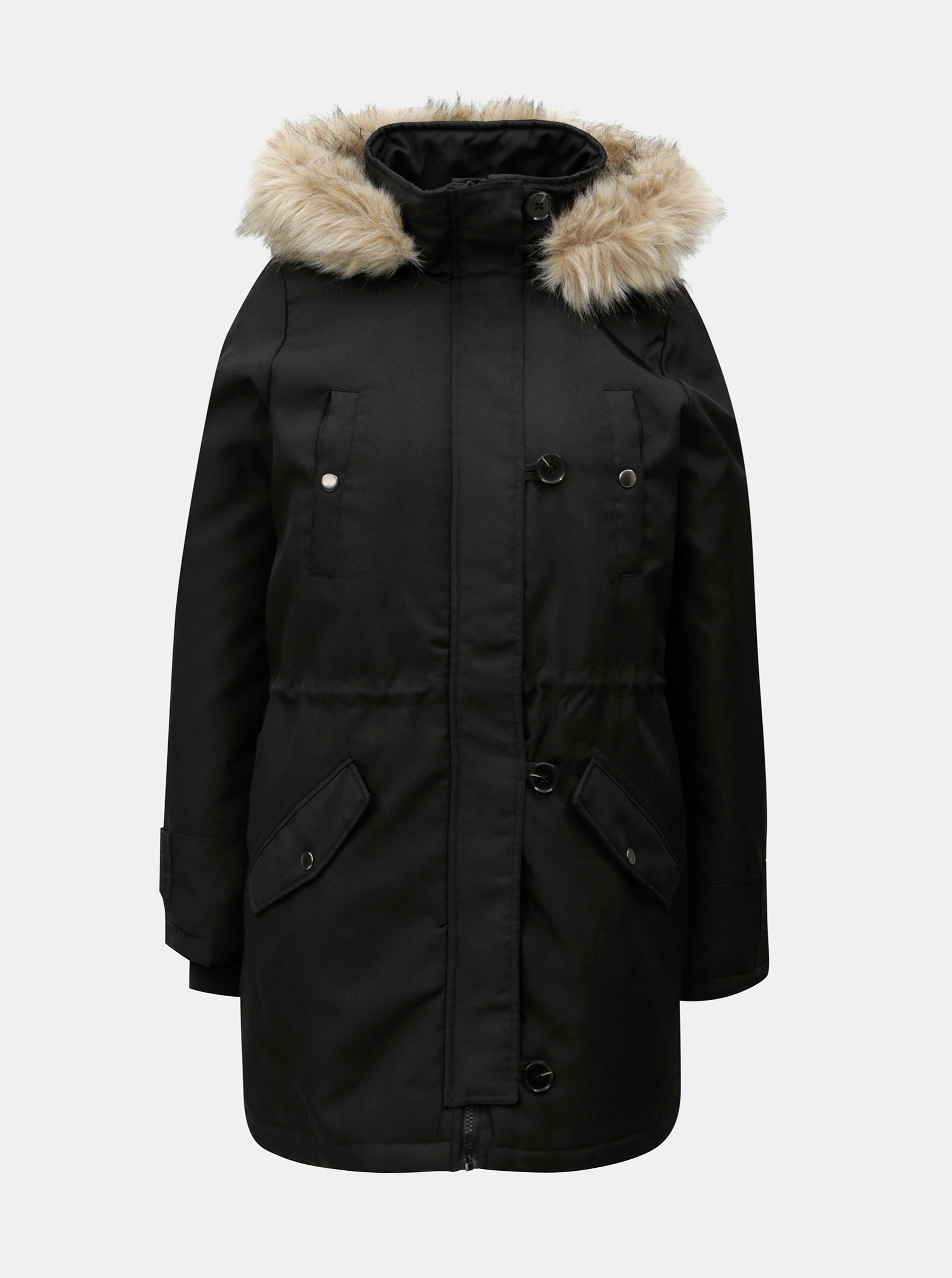 Černá zimní parka s umělým kožíškem VERO MODA