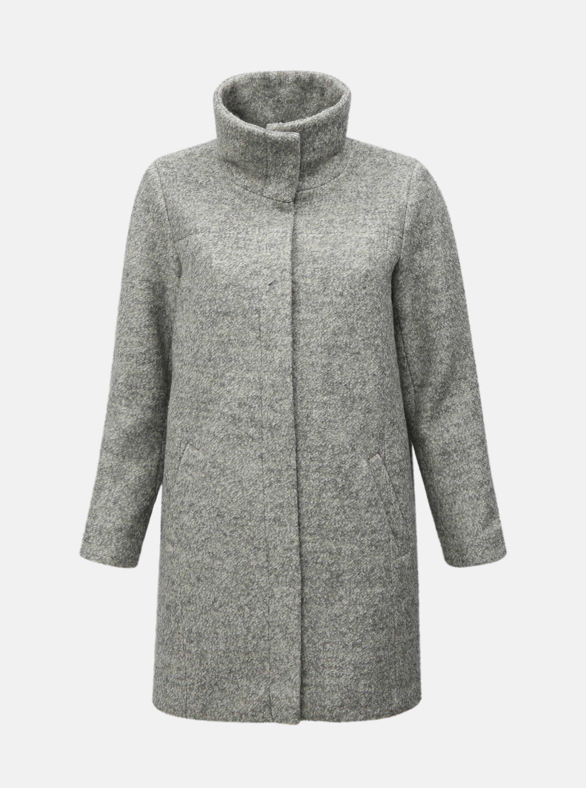 Světle šedý zimní kabát s příměsí vlny Zizzi