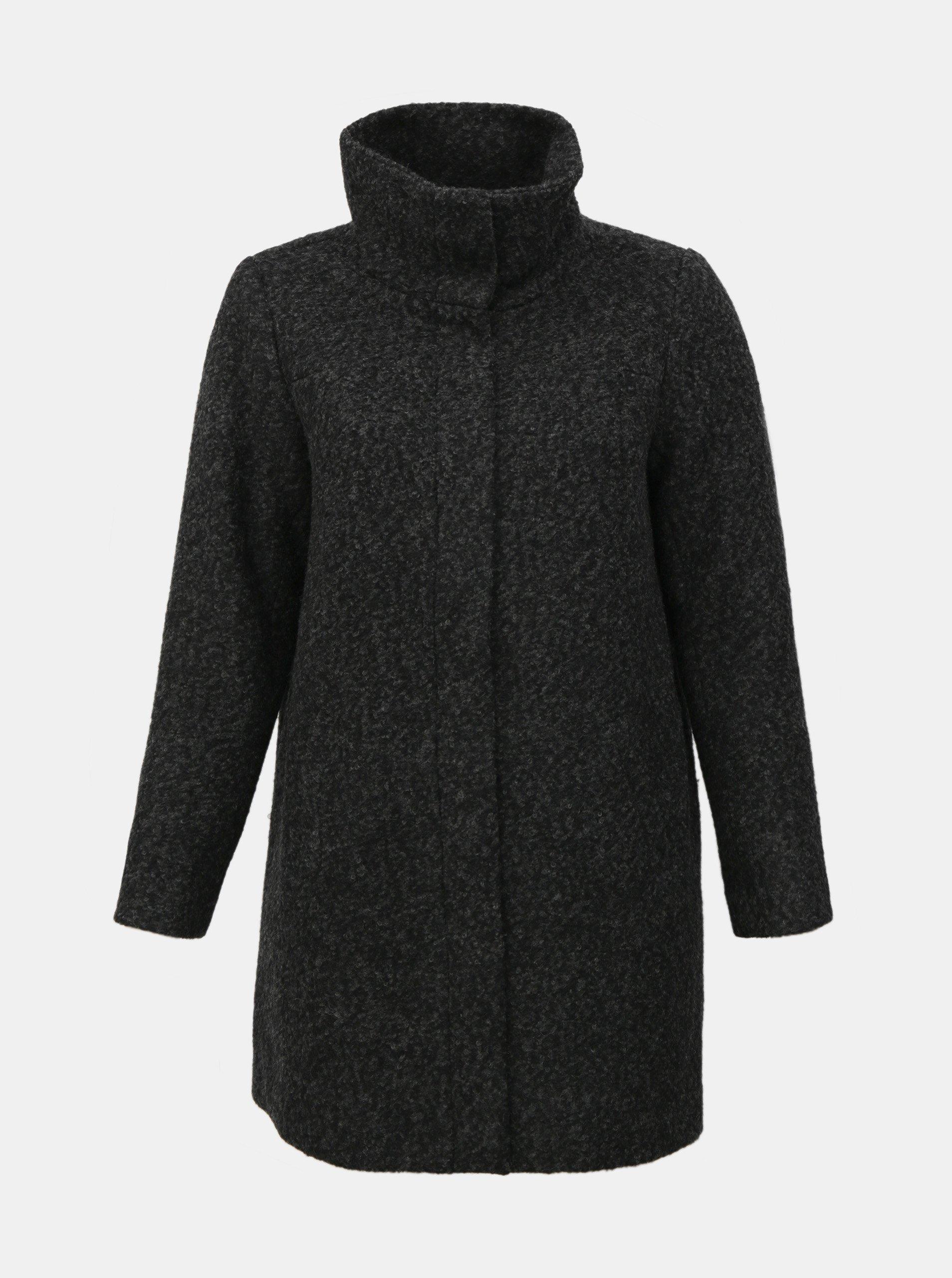 Tmavě šedý zimní kabát s příměsí vlny Zizzi