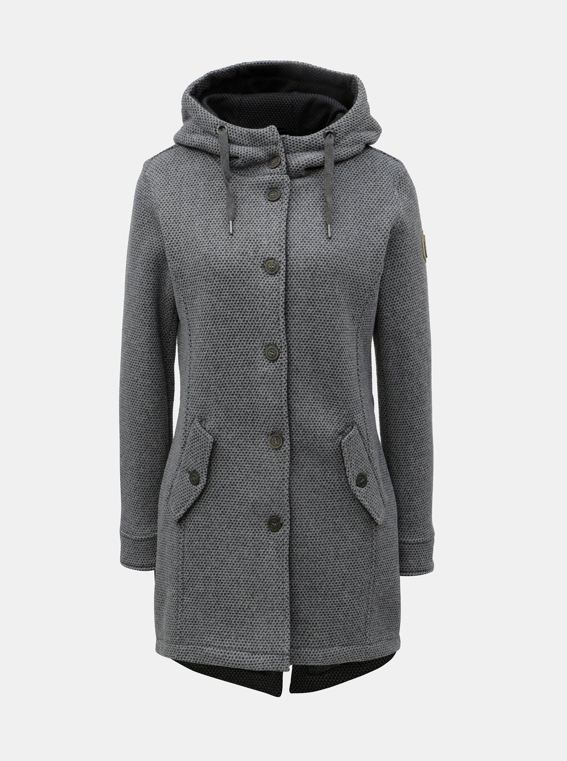 d1ee99455a Šedý dámský žíhaný kabát s velkou kapucí killtec - Dámské kabáty