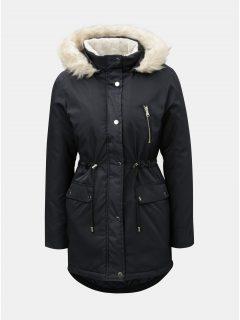 Tmavě modrá zimní parka s umělým kožíškem na kapuci Dorothy Perkins Petite