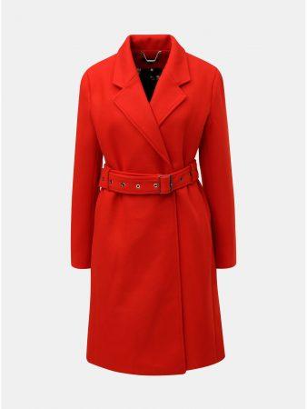 Červený kabát s páskem a příměsí vlny Smashed Lemon - Dámské kabáty f02be3b550