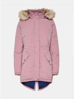 Růžová zimní parka s umělým kožíškem Jacqueline de Yong Star