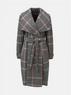 Černo-bílý károvaný dlouhý kabát Miss Selfridge