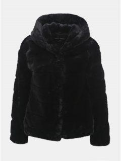 Černý krátký kabát z umělé kožešiny s kapucí TALLY WEiJL