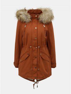 Hnědá zimní parka s umělým kožíškem Miss Selfridge