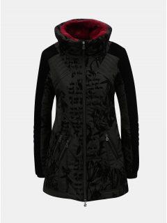 Černý vzorovaný zimní kabát s odnímatelným umělým kožíškem Desigual Morgan