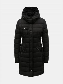 Černý prošívaný zimní kabát s odnímatelnou kapucí Desigual Inga