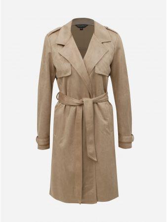 Béžový trenčkot v semišové úpravě Dorothy Perkins - Dámské kabáty 4697618e64