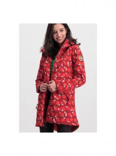 Červený vzorovaný funkční softshellový kabát Blutsgeschwister Wild Weather