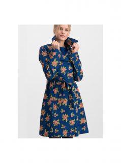 Tmavě modrý květovaný lehký kabát Blutsgeschwister Casablanca Souvenir