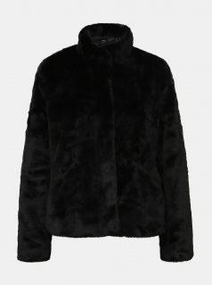 Černý krátký kabát z umělé kožešiny ONLY Vida