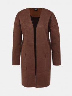 Hnědý kabát v semišové úpravě ONLY Nicola