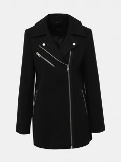 Černý kabát s příměsí vlny VERO MODA Class