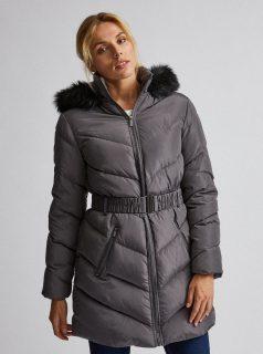 Šedý prošívaný zimní kabát Dorothy Perkins