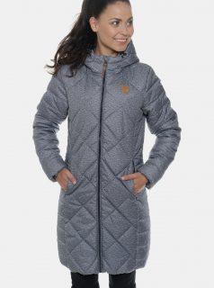 Modrý dámský voděodolný prošívaný zimní kabát SAM 73