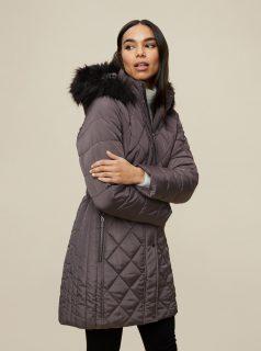 Šedý zimní prošívaný kabát Dorothy Perkins