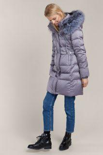 Kara šedý zimní kabát s kožešinou
