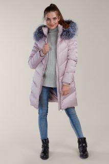 Kara pudrový péřový zimní kabát