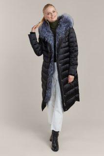 Kara černý prošívaný zimní kabát s kožešinou