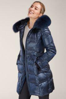 Kara modrý prošívaný zimní kabát s kožešinou