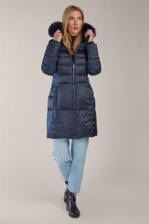 Kara modrý zimní péřový kabát s kožešinou