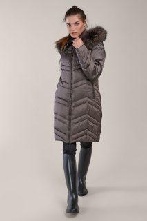 Kara metalicky hnědý zimní kabát s kožešinou