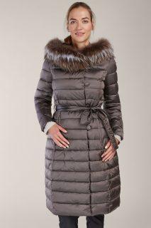 Kara metalicky hnědý prošívaný zimní kabát