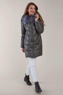 Kara šedý prošívaný zimní kabát