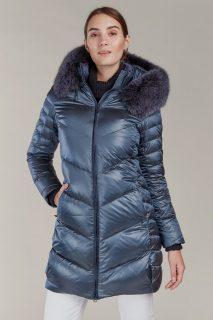 Kara metalicky modrý prošívaný zimní kabát