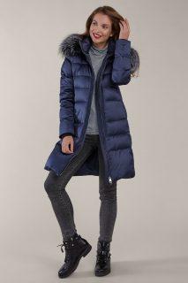 Kara modrý elegantní zimní prošívaný kabát s kožešinou