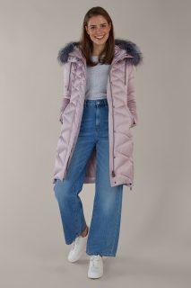 Kara pudrový zimní kabát s kožešinou