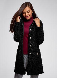 Kabát z umělé kožešiny s kontrastními knoflíky OODJI