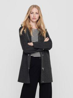 Tmavě šedý kabát s kapucí ONLY-Siri