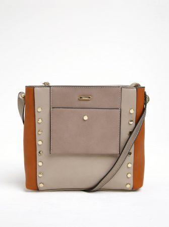 62a1c5c11e Hnědo-béžová crossbody kabelka s aplikací ve zlaté barvě Gionni Maddy