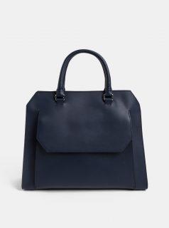 Tmavě modrá kožená kabelka s kapsou BREE Cambridge