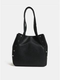 Černá kabelka přes rameno s detaily ve stříbrné barvě Pieces Kimberley