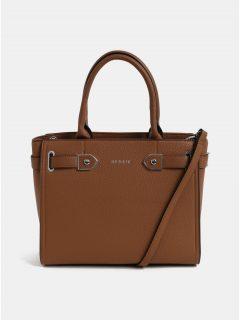 Hnědá kabelka s detaily ve stříbrné barvě Bessie London