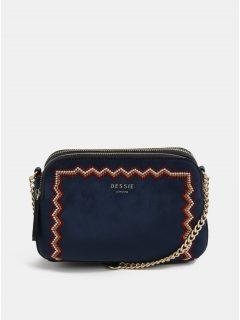 Tmavě modrá crossbody kabelka s výšivkou a detaily v semišové úpravě Bessie London