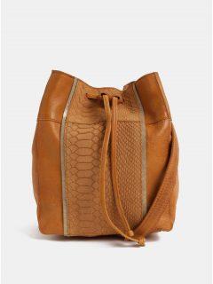 Hnědá kožená vaková kabelka se zvířecím vzorem Pieces Imi