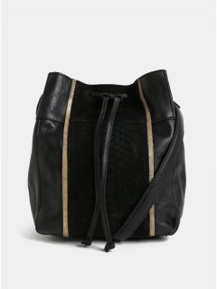 Černá kožená vaková kabelka se zvířecím vzorem Pieces Imi