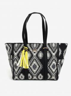 Krémovo-černá kabelka s aztéckým vzorem Bessie London