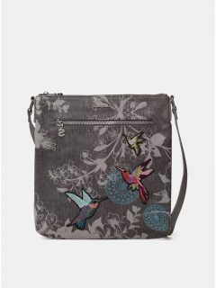 Šedá crossbody kabelka s nášivkami Desigual Wallpaper Kaua